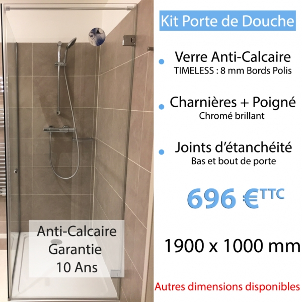 kit porte de douche en verre anti calcaire. Black Bedroom Furniture Sets. Home Design Ideas