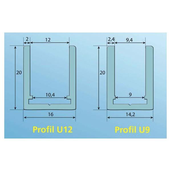 profil u9 u12 sp cial douche en aluminium chrom. Black Bedroom Furniture Sets. Home Design Ideas