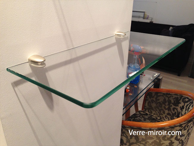 Etagere murale en verre sur mesure table de lit for Etagere verre
