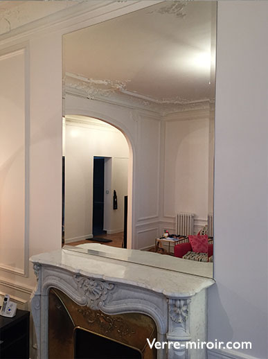 Dessus de cheminé en miroir sur mesure