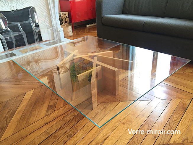 Table basse en verre tremp for Plateau en verre pour table