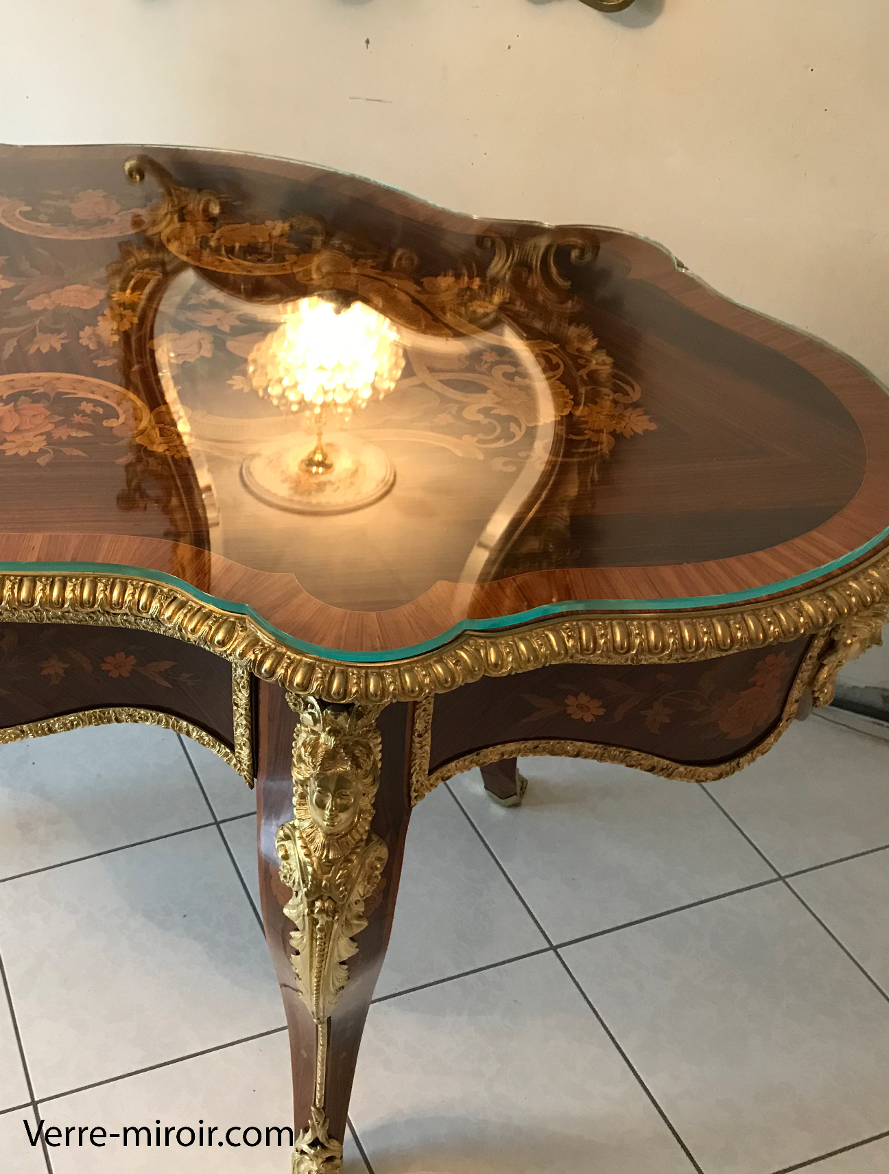 Protection table ancienne en verre trempe extra clair