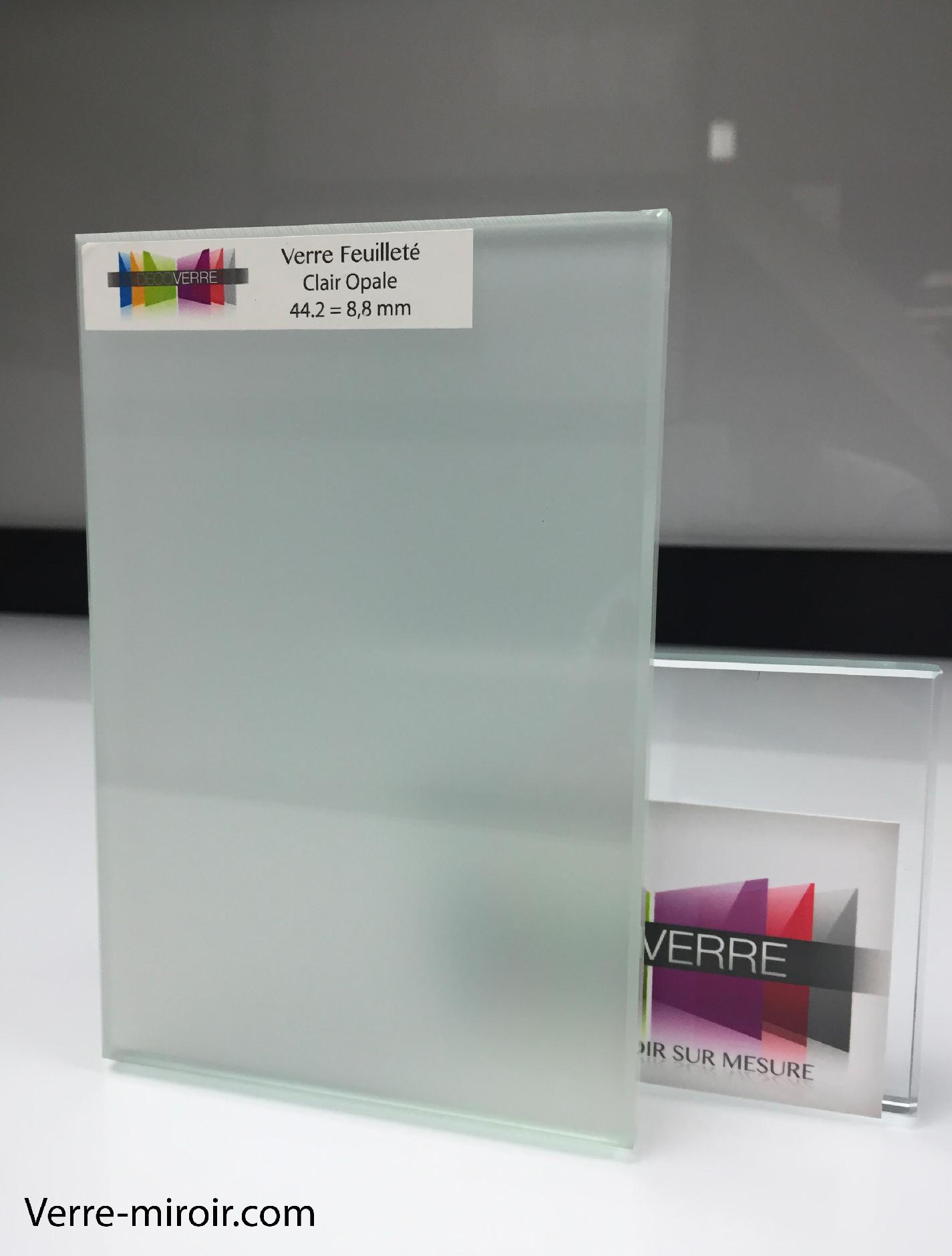 Verre feuillete opale clair sur mesure