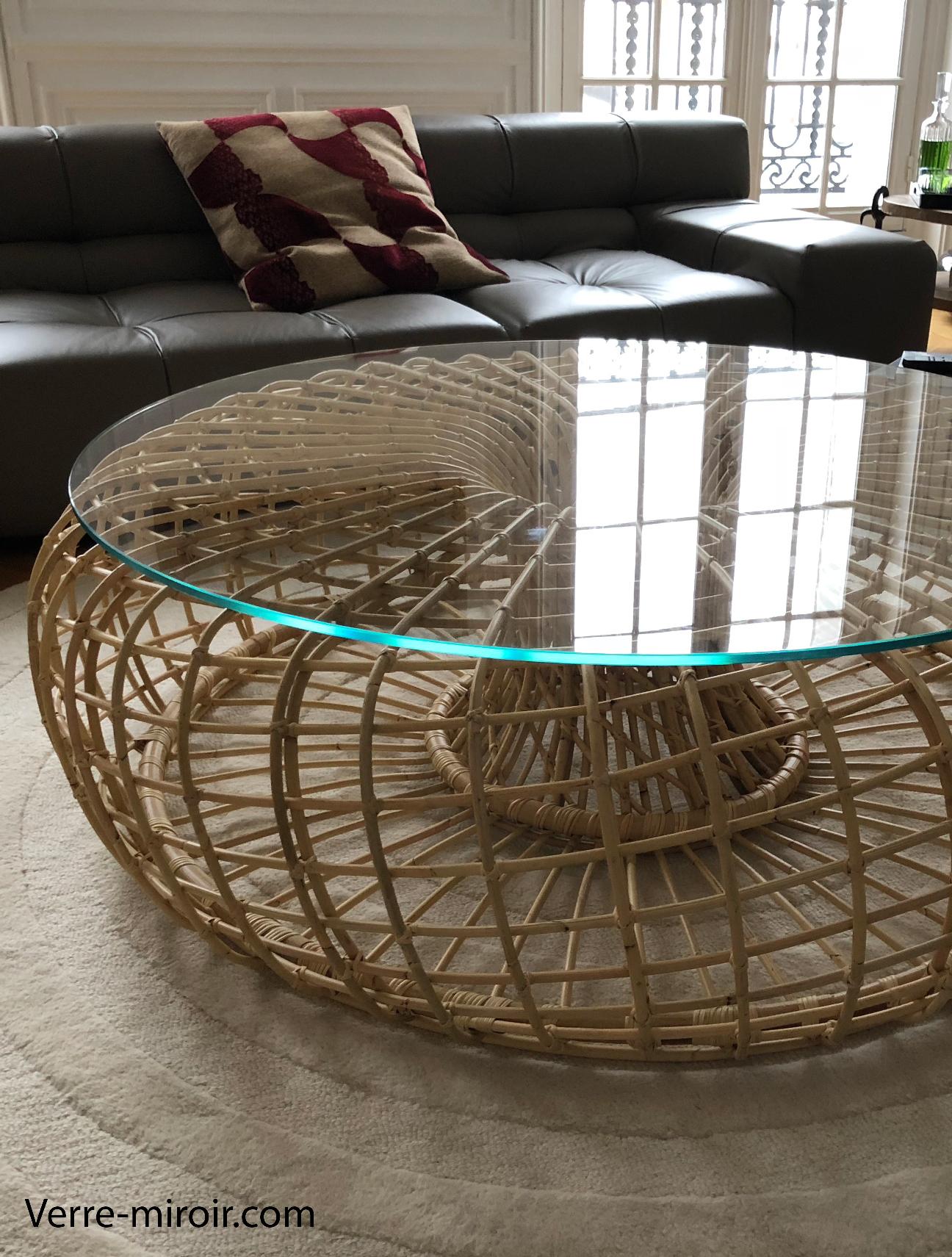 Verre trempe extra clair sur table basse