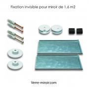 Fixation invisible pour miroir de 1,6 m2