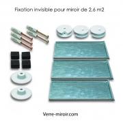 Fixation invisible pour miroir de 2,6 m2