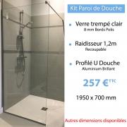 Kit paroi de douche en verre trempé 1950 x 700