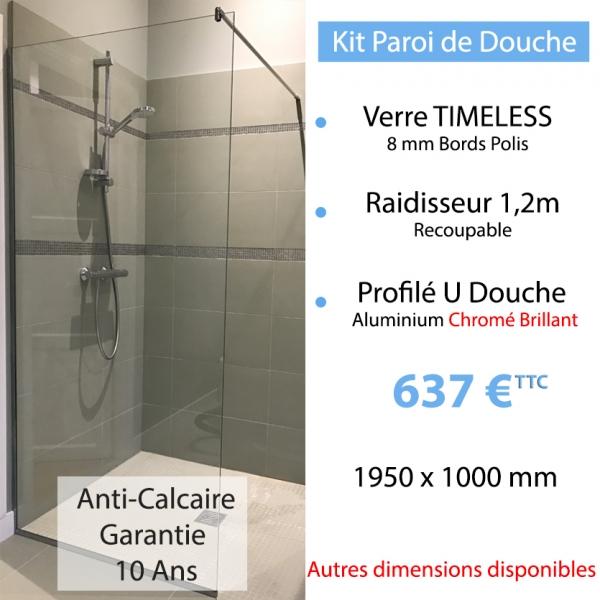 kit paroi de douche en verre tremp anti calcaire. Black Bedroom Furniture Sets. Home Design Ideas