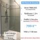 Kit paroi de douche en verre trempé anti-calcaire