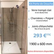 Kit porte de douche en verre trempé 190 x 60 cm