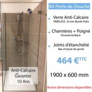 Kit porte de douche en verre anti-calcaire 190 x 60 cm