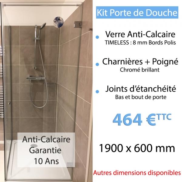 Kit porte de douche en verre anti calcaire - Porte de douche anti calcaire ...