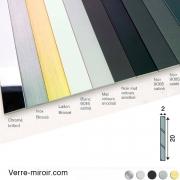 Plats aluminium 20x2 mm chromé - laiton brossé - inox brossé - noir mat