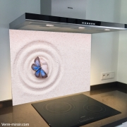 Fond de hotte verre imprimé personnalisé zen 3