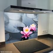 Fond de hotte verre imprimé personnalisé zen 5