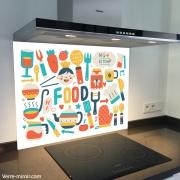 Fond de hotte verre imprimé personnalisé culinaire 6