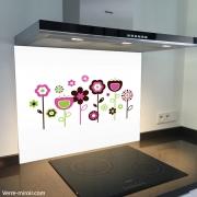 Fond de hotte verre imprimé personnalisé floral1