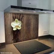 Fond de hotte verre imprimé personnalisé floral 2