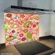 Fond de hotte verre imprimé personnalisé floral 12