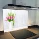 Fond de hotte verre imprimé personnalisé floral 14