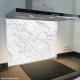 Fond de hotte verre imprimé personnalisé matière 2 effet marbre