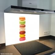 Fond de hotte verre imprimé personnalisé macarons