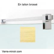 Raidisseur de douche laiton brossé verre/mur longueur 1,3 m