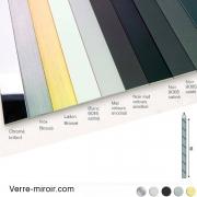 Plats aluminium 50x3 mm chromé - laiton brossé - inox brossé - noir mat