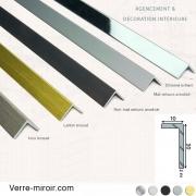 Cornière aluminium décorative 10x20 mm chromé, mat, noir mat, inox brossé et laiton brossé