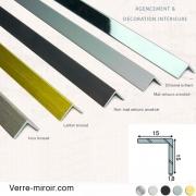 Cornière aluminium décorative 15x15 mm chromé, mat, noir mat, inox brossé et laiton brossé