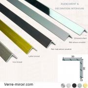 Cornière aluminium décorative 20x20 mm chromé, mat, noir mat, inox brossé et laiton brossé