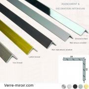 Cornière aluminium décorative 25x25 mm chromé, mat, noir mat, inox brossé et laiton brossé