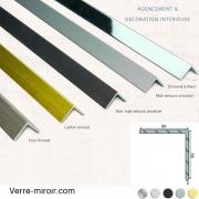 Cornière aluminium décorative 30x30 mm chromé, mat, noir mat, inox brossé et laiton brossé