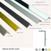 Cornière aluminium décorative 50x20 mm chromé, mat, noir mat, inox brossé et laiton brossé