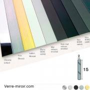 Plats aluminium 15x2 mm chromé - laiton brossé - inox brossé - noir mat