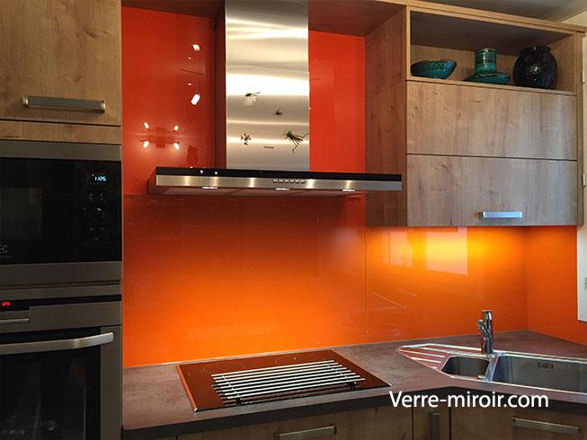 Crédence en verre laqué trempé orange
