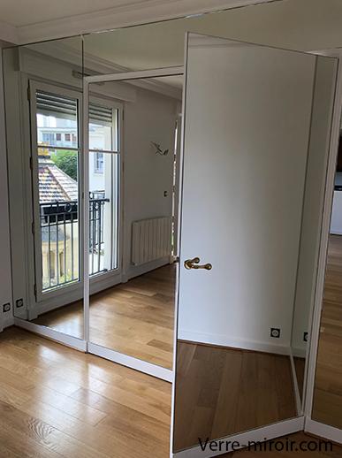 Miroir sur mesure collé sur porte