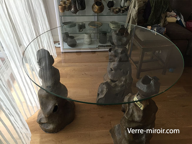 Plateau de table ronde en verre trempe