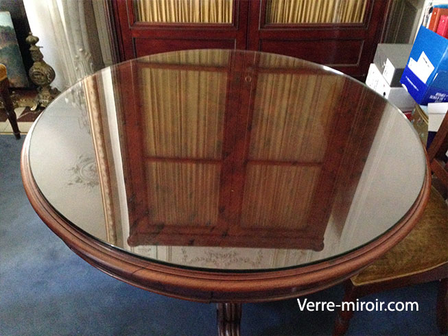 Protection de table ronde en verre trempe