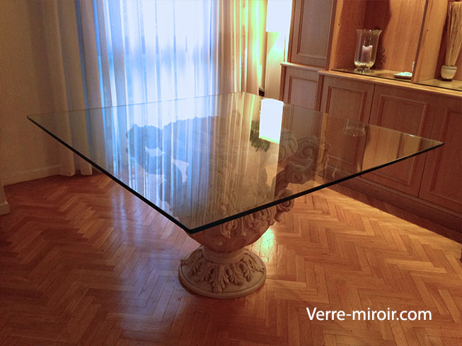 Table a mange en verre trempe clair 15 mm