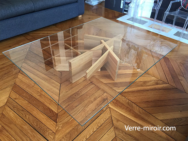 Table basse en verre securit trempe sur mesure