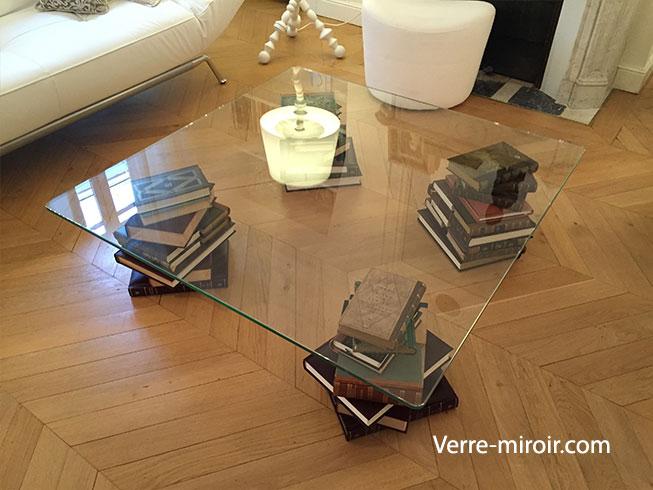 Table basse en verre trempe sur mesure pied livre