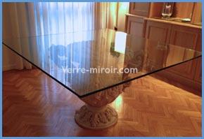 Réalisation de table en verre trempé clair ou laqué