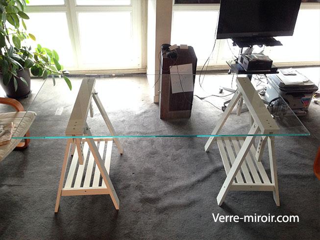 Verre trempe extra clair table tréteau