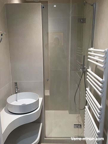 Paroi fixe et porte de douche sur mesure